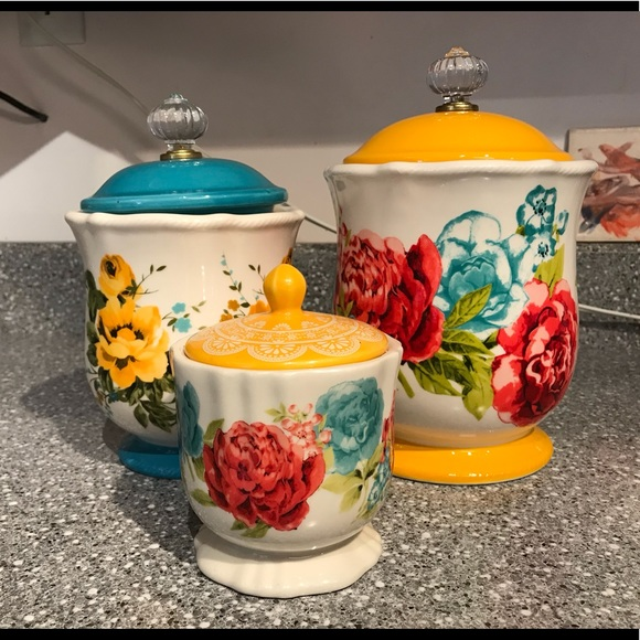 Pioneer Woman Canister And Sugar Bowl Set